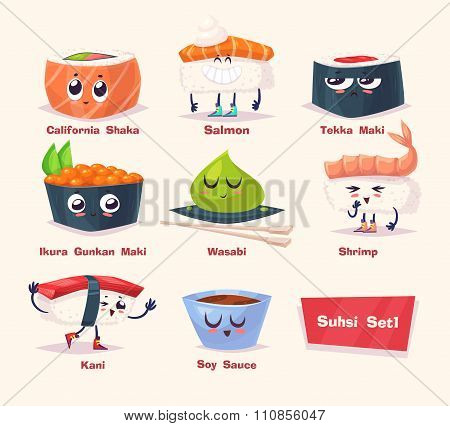 Sushi set. Soy sauce and sushi roll. Japanese food. Vector cartoon.