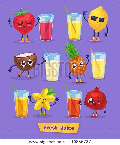 set of fruit characters and fresh juice. Vector cute cartoons