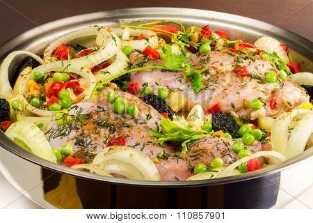 Healthy Food, Uncooked Dietary Rabbit Meat With Various  Vegetables In Pan, Close-up View