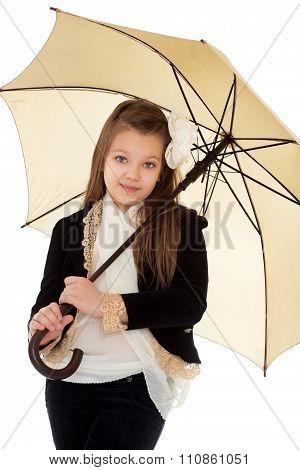 Fashionable girl under an umbrella