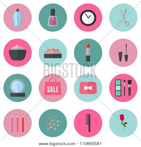 Make up flat icons. Vector illustration