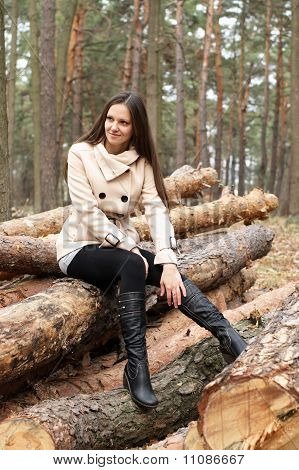 Young Woman Outdoors In Forest