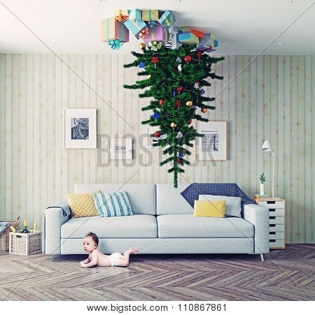 room with a Christmas tree on the ceiling and surprised baby. photo-combination concept poster