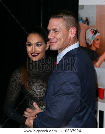 NEW YORK-DEC 8: John Cena (R) and Nikki Bella attend the premiere of