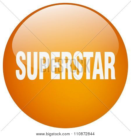 Superstar Orange Round Gel Isolated Push Button