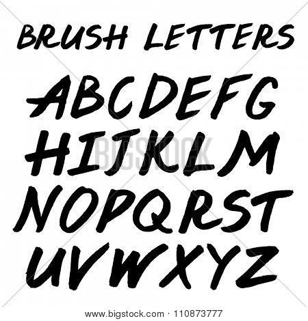 Brush handwritten full alphabet.  Black ink script font. Irregular letters.