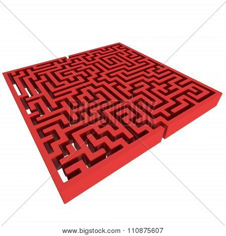 3D Maze. Labyrinth Shape Design Element.