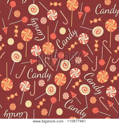 Seamless pattern with sweet candies isolated on chocolate background