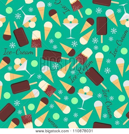 Seamless pattern with ice creams isolated on green background