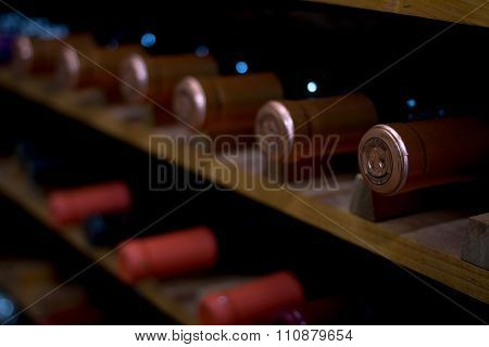 wine rack close up