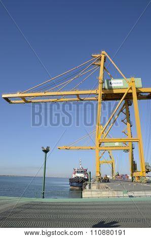 Large Crane And Cargo Ship