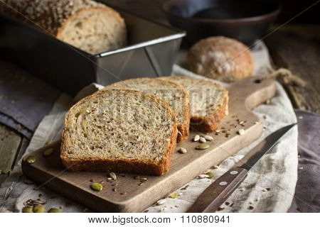 Fresh  Multigrain Bread On Rustic Background