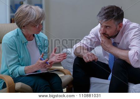 Psychoanalyst Helping Patient With Phobia