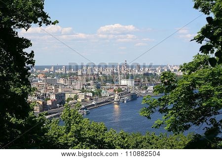 Views Of The Dnieper River And District Podil In Kiev, Ukraine