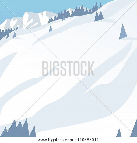 Ski resort mountains, tracks, building winter season landscape vector illustration