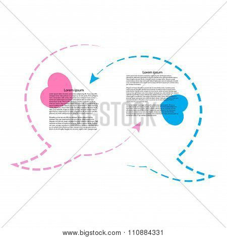 Wo Vector Bubble Chat Contours Rozovogoi Tsvetas Blue Hearts And Arrows And Place For Text