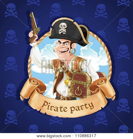 Cute Pirate With A Gun And Big Treasure Chest. Banner For Pirate