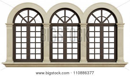Mullioned Window Isolated On White