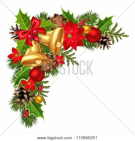 Christmas decorative corner with fir-tree branches, balls, bells, holly, poinsettia and cones. Vecto