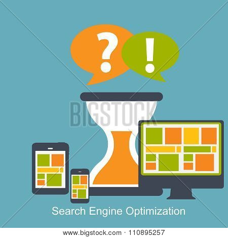 Seo - Search Engine Optimization Flat Icon Vector Illustration