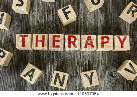 Wooden Blocks with the text: Therapy