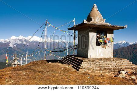 Stupa And Prayer Flags - Nepal