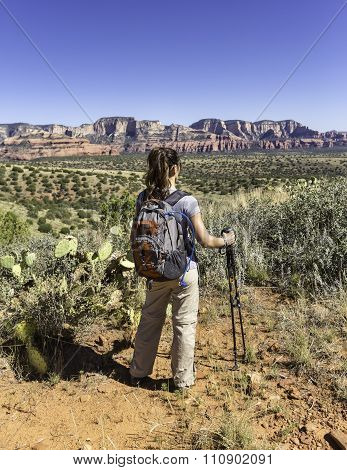 Woman Hiking Resting