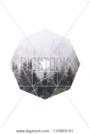 Scenic View of Evergreen Trees Shrouded in Heavy Mist in Octagon Border with Geometric Overlay on White Background with Copy Space