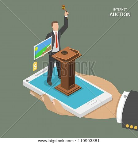 Internet auction isometric flat vector concept.