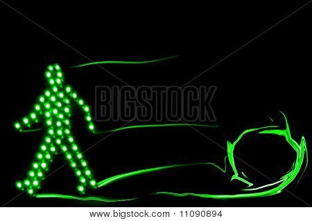 Pedestrian Traffic Light Green, Isolated On A Black Background
