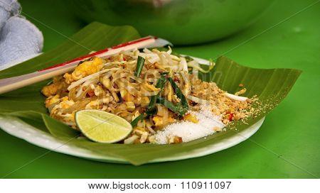 Freshly prepared pad Thai on street in Bangkok