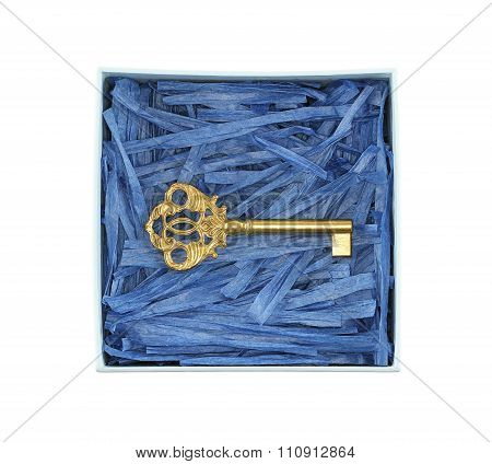 Bronze key enclosed with blue paper raffia strips in light blue box isolated on white background