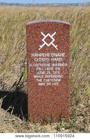 Indian Warrior Marker Stone At Little Bighorn Battlefield National Monument, Montana, Usa