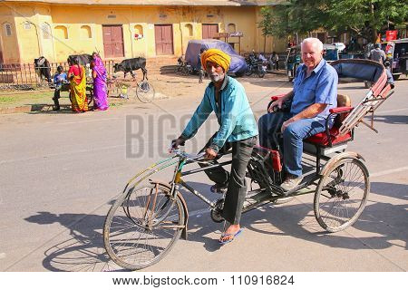 Jaipur, India - November 14: Unidentified Man Drives Pedicab Near City Palace On November 14, 2014 I