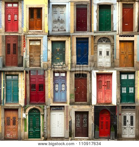 A collage of coloured portuguese doors