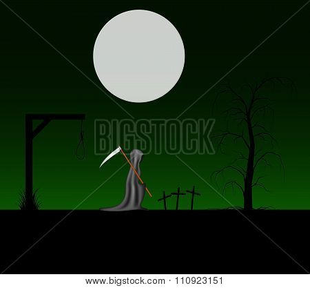 Spooky background with grim reaper with scythe in a cemetery