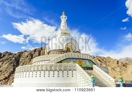 The Shanti Stupa at Leh, Ladakh province, India