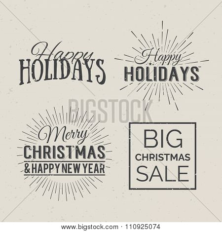 Merry Christmas And Happy New Year Calligraphic Design Label On Grunge Background. Holidays Letterin
