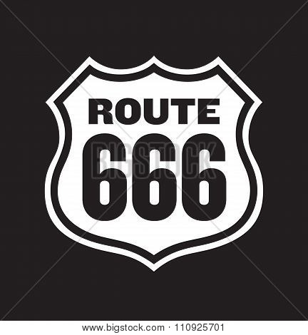 Vector illustration of vintage Route 666 Number of the Beast road sign. Easy to edit and fully salable. poster