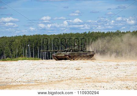 T-72 tank on the firing range for testing
