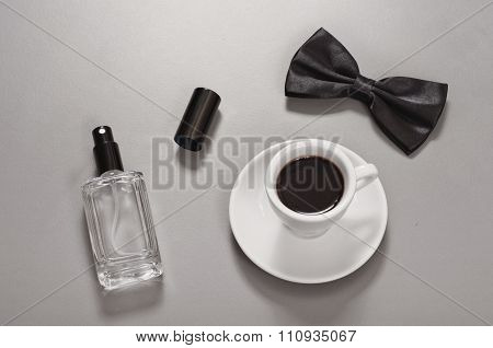 Black Coffee With A Bow Tie And Eau De Toilette