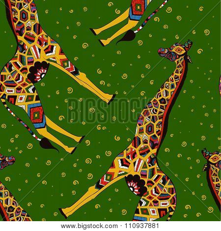 Beautiful adult Giraffe. Hand drawn Illustration of ornamental giraffe.  isolated giraffe on green b