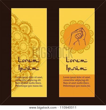 Element Yoga Stairway Heaven Mudra Hands With Mehendi Patterns.
