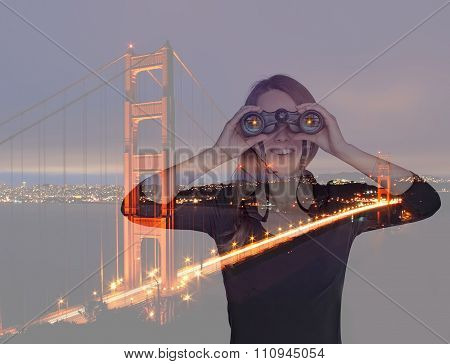 Young Woman With Binoculars Near Golden Gate Bridge. Double Exposure.