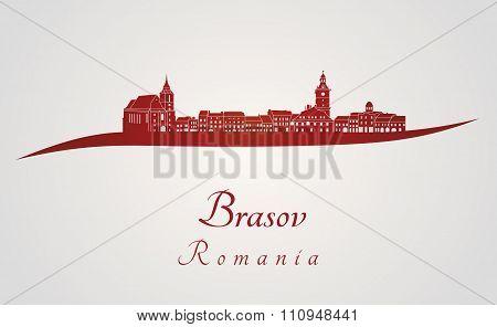 Brasov Skyline In Red
