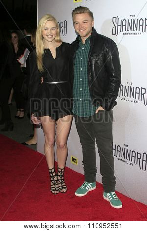 LOS ANGELES - DEC 4:  Greer Grammer, Brett Davern at the he Shannara Chronicles at the iPic Theaters on December 4, 2015 in Los Angeles, CA