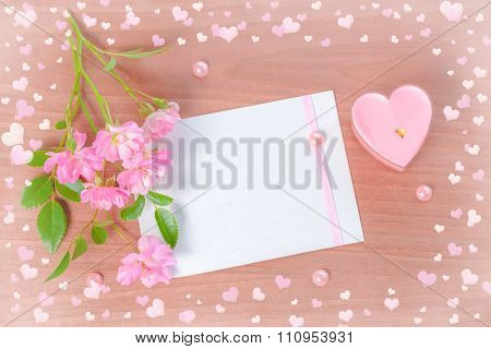 Top Down Valentine Card Of Pink Heart Shaped Candle And Bouquet Rose Flowers On Wooden Background, C