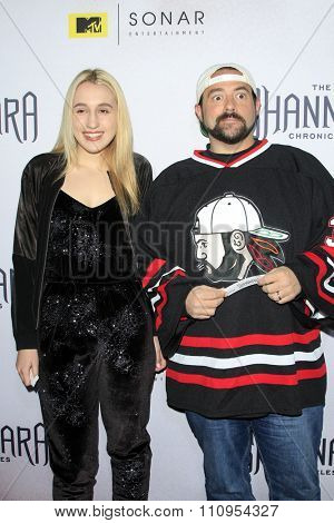 LOS ANGELES - DEC 4:  Harley Quinn Smith, Kevin Smith at the he Shannara Chronicles at the iPic Theaters on December 4, 2015 in Los Angeles, CA