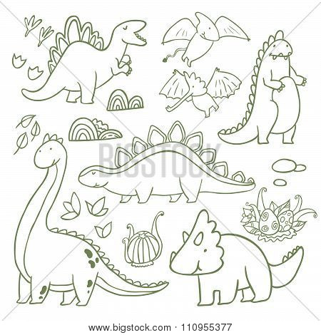 Adorable dinosaurs outline vector set
