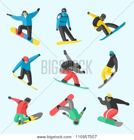 Snowboarder jumping different pose on white background. Snowboard people tricks. Snowboarder tricks.Special snowboard tricks isolated on white.Snowboard tricks vector illustration.Snowboarder isolated